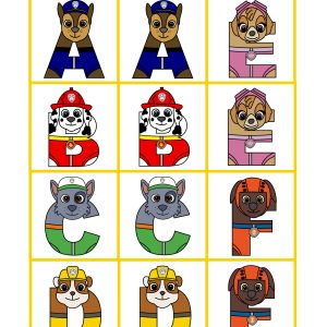 Printable matching game cards with rescue pups as part of the letters.