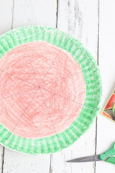 Paper plate colored with a green edge and red inside.