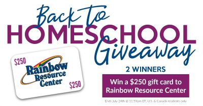A graphic announcing a giveaway to the online store Rainbow Resource.