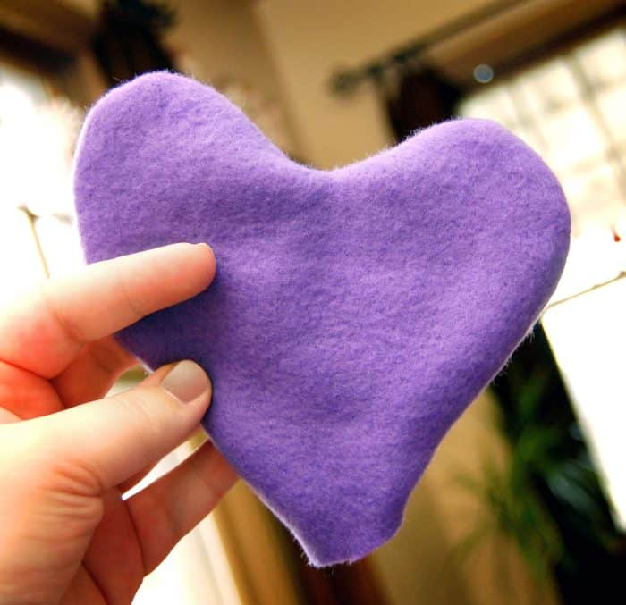 Homemade handwarmer in the shape of a heart.