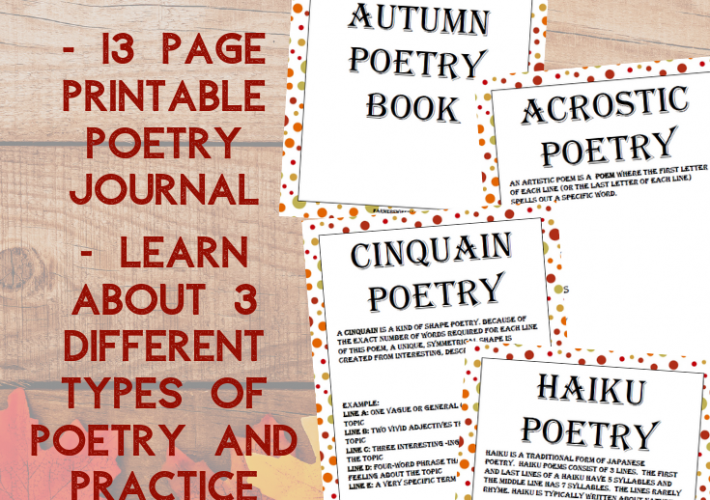 A collage of items included in this free Autumn Poetry printable package.