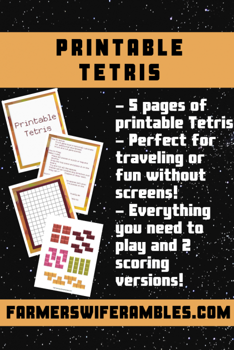 A photo collage for the free printable Tetris game.