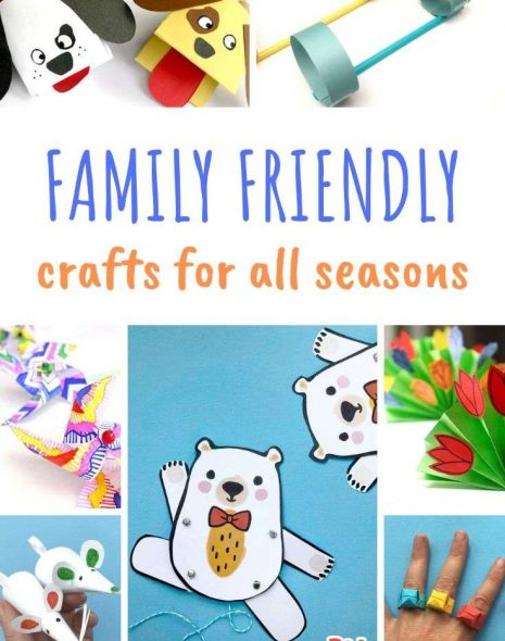 A photo collage of family friendly crafts for all seasons and ages.
