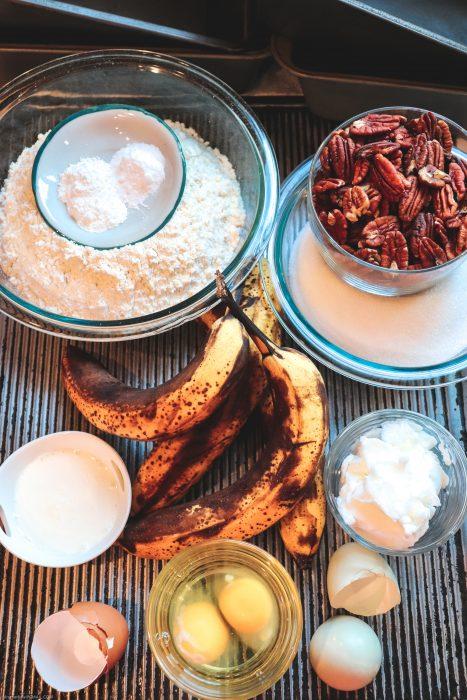 Ingredients needed for banana pecan bread.