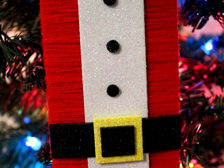 Popsicle Stick Santa Suit Yarn Ornament