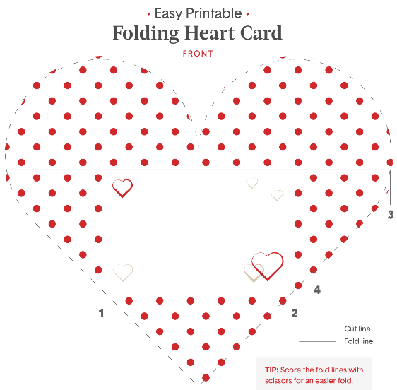 Printable Valentines Folding Heart for Kids