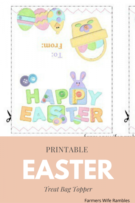 Happy Easter and To and from on the printable in pastel colors and a basket and eggs